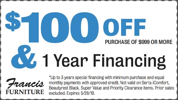 $100 off your purchase of $999 or more.
