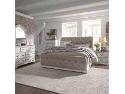 Magnolia Manor King California Upholstered Sleigh Bed, Dresser & Mirror, Chest, Night Stand