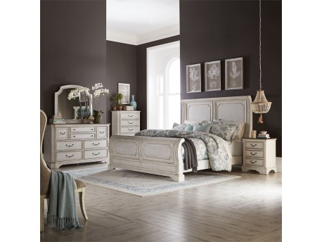 Abbey Road King Sleigh Bed, Dresser & Mirror, Chest, Night Stand