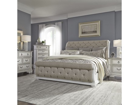 Abbey Park Upholstered Sleigh Bed, Dresser & Mirror, Chest, NS